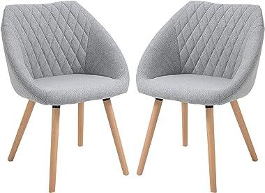 HOMCOM Chaises de Visiteur Design scandinave - Lot de 2 chaises - Pieds effilés Bois hêtre - Assise Dossier accoudoirs ergono