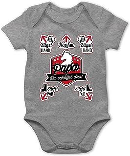 Shirtracer Strampler Motive - Papa du schaffst das! - Reiten - Baby Body Kurzarm für Jungen und Mädchen