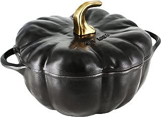 Staub 1112423 Cast Iron Pumpkin Cocotte, 3.5-quart, Black Matte