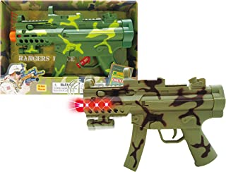 "Mozlly Light & Sounds Military Camo Gun, 11.5"" w/ Vibrations, Pretend Play Costume Accessories, Colors Vary"
