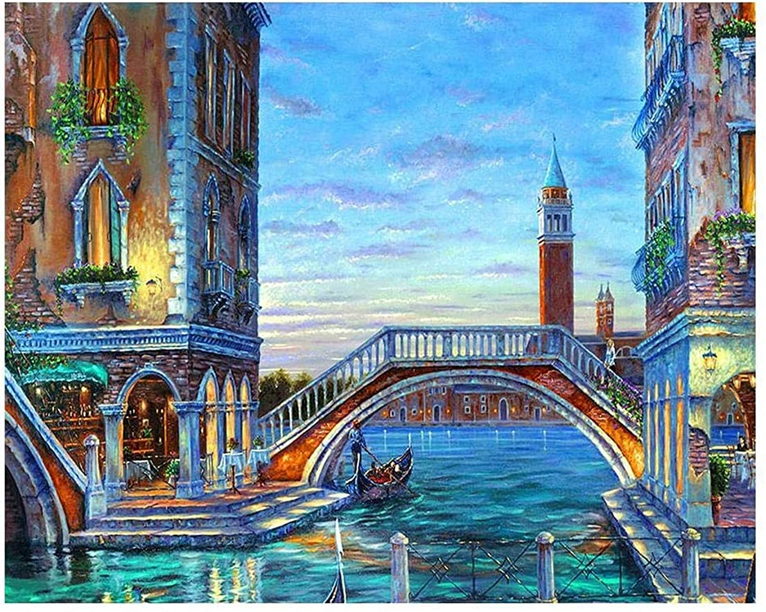 疼痛出くわすノミネート1 Pcs DIY 5D Diamond Painting Kits Venice Landscape Full Diamond Rhinestone Embroidery Painting Living Room Bedroom Home H...