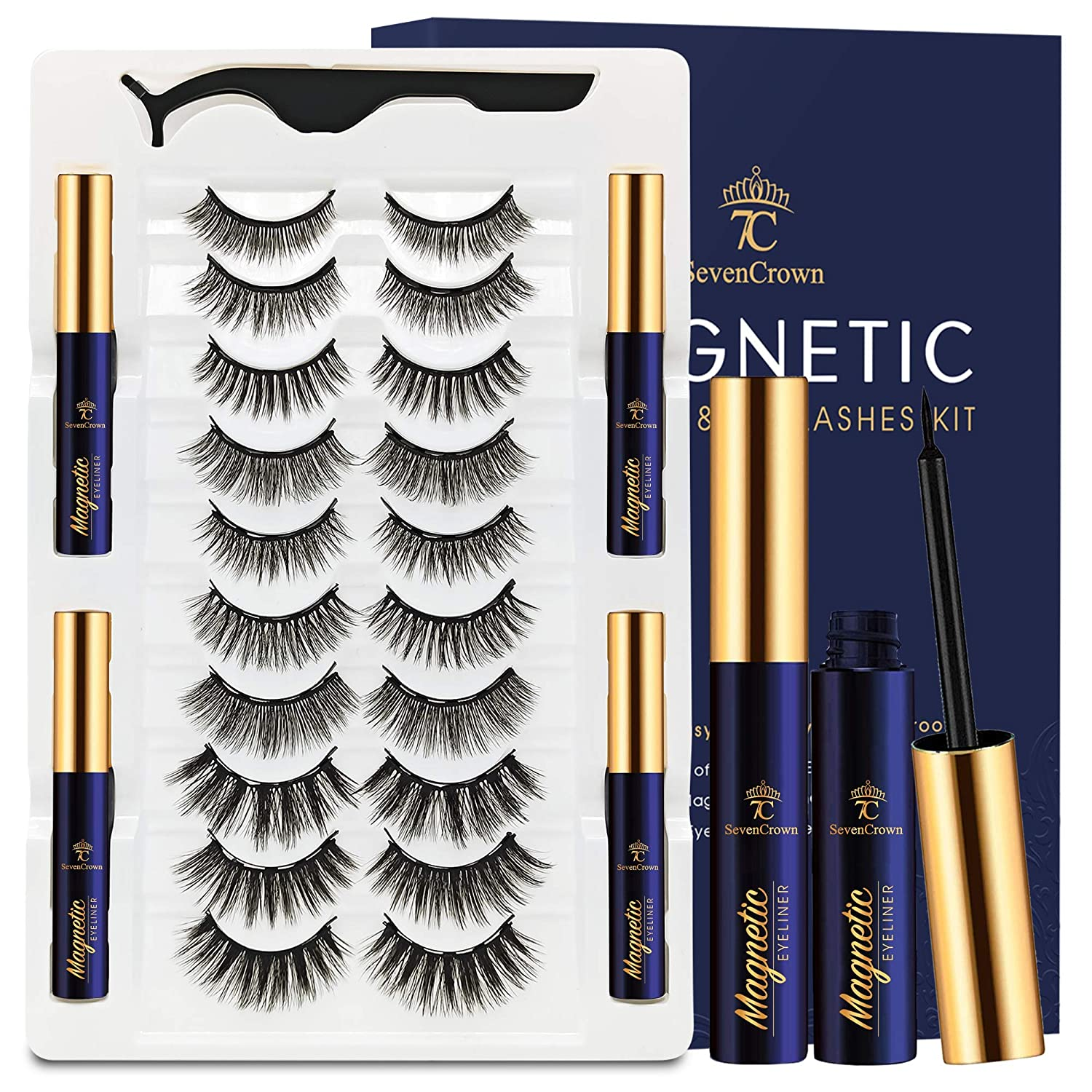 New products world's highest quality popular 3D Magnetic Eyelashes Max 77% OFF with Eyeliner - SEVENCROWN Kit 7C
