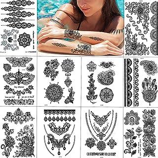 Tatuaje Temporal Encaje Negro, Sexy Caliente del Cordón Falso Pegatina, Moda Etiquetas Engomadas del
