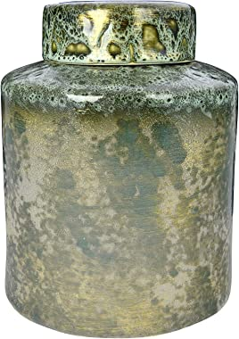 "Creative Co-op 9.75"" H Decorative Stoneware Lid & Iridescent Reactive Glaze Finish (Each one Will Vary) Ginger Jar, Green"