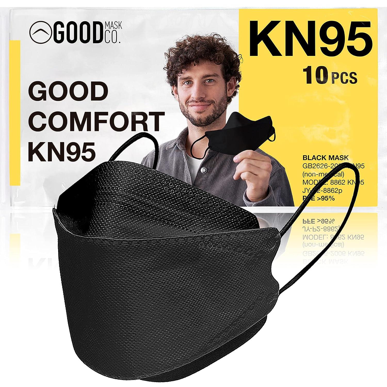 GOOD MASK CO. Good Comfort KN95 Face Mask, Disposable KN95 Face Mask, Folding, Filter Efficiency 95%, Comfortable Face Masks, Bulk Face Masks (10 Pack of Masks, Black)