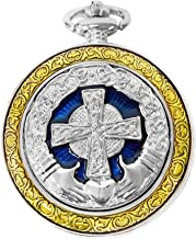 Celtic Pocket Watch Irish Claddagh Cross Motif Case Roman Numerals with Chain Steampunk PW-75