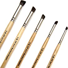AIT Art Natural Hair Deerfoot Stippler Texture Brushes - Set of 5 - Handmade in USA for Superior Results with Watercolors,...