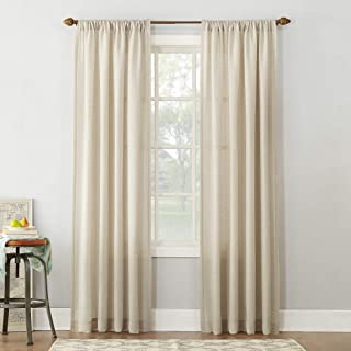 "No. 918 Amalfi Linen Blend Textured Sheer Rod Pocket Curtain Panel, 54"" x 84"", Ivory"