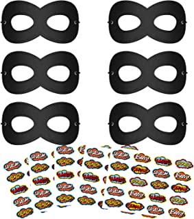 Superhero Masks, Party Dress Up Mask for Kids, Super Hero Masks for Halloween, 6Pcs Black Masks with 100 Stickers
