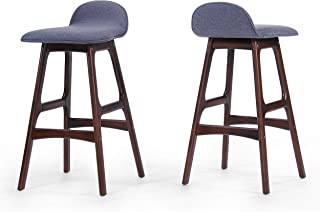 Christopher Knight Home Tolle Charcoal Grey Fabric Bar Chair (Set of 2)