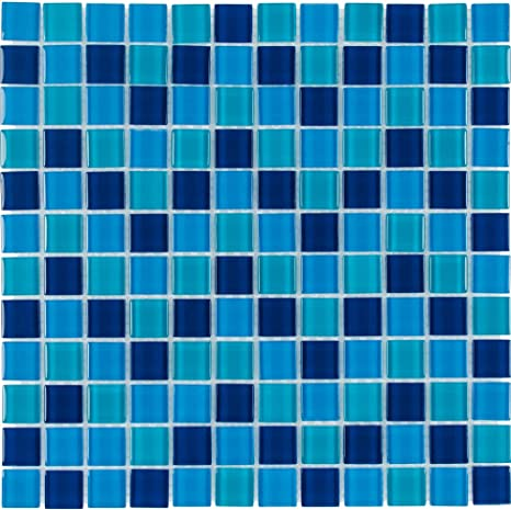 Mto0296 Classic 1x1 Stacked Squares Blue Glossy Glass Mosaic Tile Home Kitchen