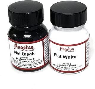 Angelus Brand Acrylic Leather Paint Waterproof 1oz - Flat Black & Flat White Duo