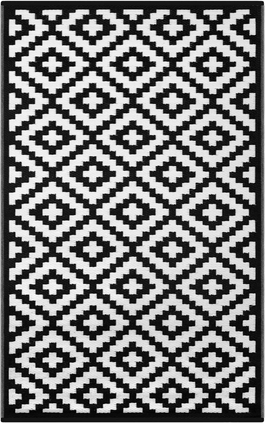 Lightweight Outdoor Reversible Super special price Plastic Black Rug White Cheap super special price Nirvana