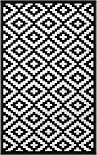 Green Decore Lightweight Outdoor Reversible Plastic Nirvana Rug (3 X 5, Black/White)