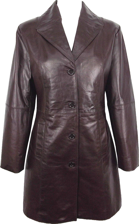 UNICORN Womens Three Quarter Length Coat Real Leather Jacket  Glazed Brown  GO (14)