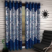 Homefab India Set of 2 Polyester Blue Door Curtain - 7 ft