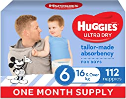 Huggies Ultra Dry Nappies Boy Size 6 (16kg+) 1 Month Supply 112 Count