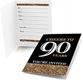 Adult 90th Birthday - Gold - Fill In Birthday Party Invitations - Set of 24