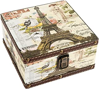 WaaHome Wood Jewelry Keepsake Storage Box Memory Boxes Eiffel Tower Decorative Boxes For Girls Kids, 6.4