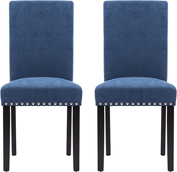 LSSPAID Upholstered Parsons Dining Chair With Polished Nailhead Wood Legs In Blue Set Of 2