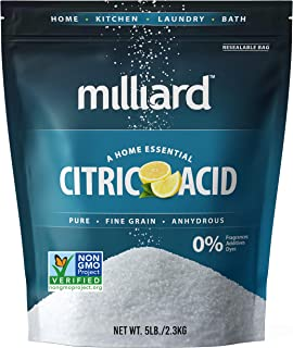 Milliard Citric Acid 5 Pound – 100% Pure Food Grade NON-GMO Project VERIFIED (5 Pound)