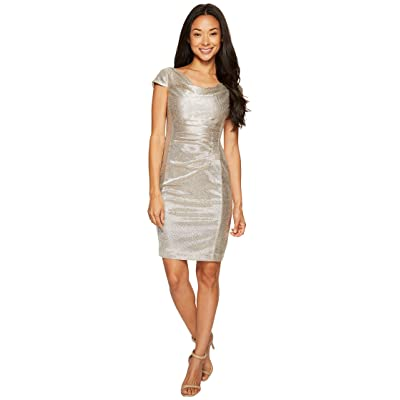 Tahari by ASL Petite Metallic Knit Dress (Silver Powder) Women