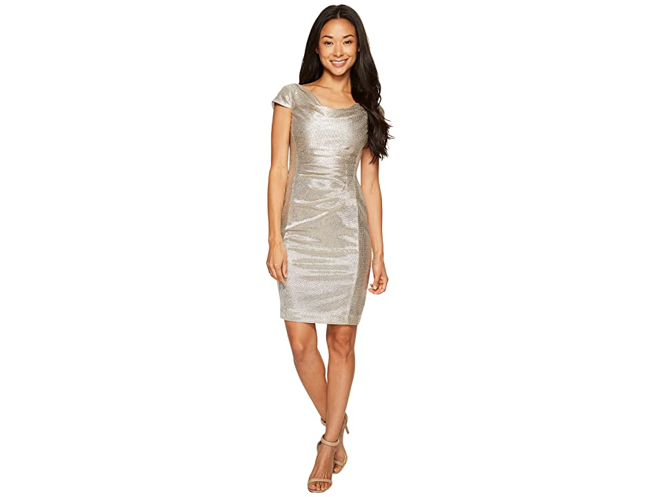 Tahari by ASL Petite Metallic Knit Dress (Silver Powder) Women