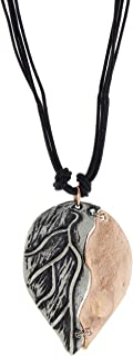 Two-Tone Copper & Pewter Leaf Necklace on 17