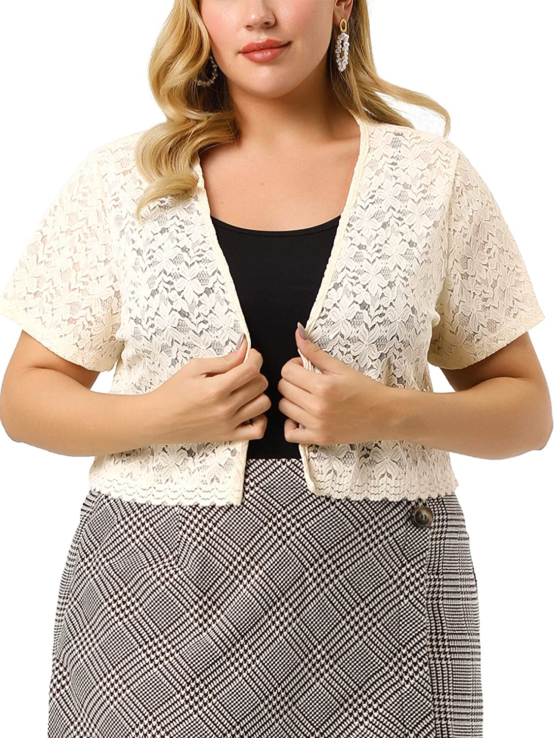 Agnes Orinda Plus Size Shrug for Sleeve Lace Fr NEW before selling Open Women Short 100% quality warranty