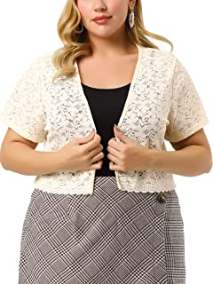 Agnes Orinda Plus Size Shrug Cardigan for Women Floral Lace Open Front Crop Bolero Jacket