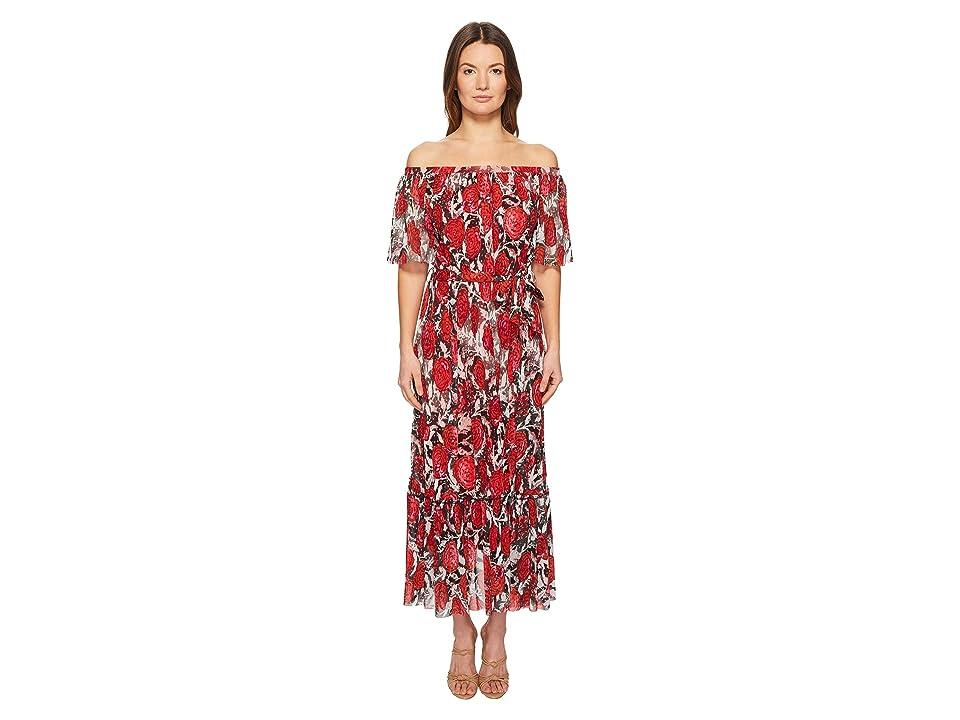 FUZZI Off the Shoulder Belted Dress (Nero) Women