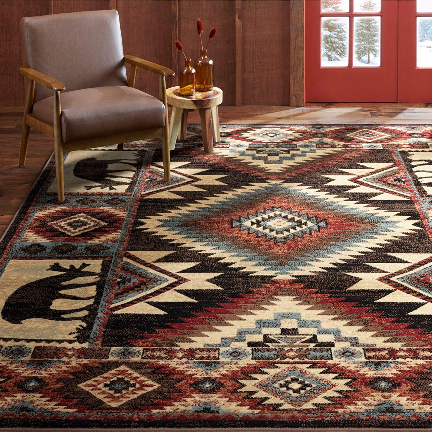 Home Dynamix Buffalo Southwest Rustic Area Rug, Brown/Red, 5'2