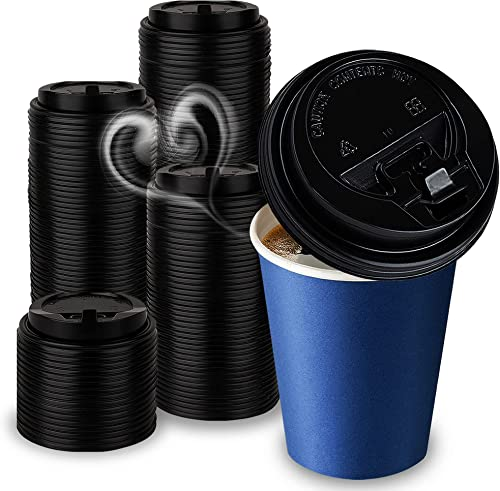 high quality Premium Hinged Tab Dome Lids outlet sale for Disposable Paper Hot Cups, Fits most 10-24 Ounce outlet sale and 8 oz Squat Cups (100 Pack/Black) - Recyclable, Easy-Flow Anti-Spill Design, For Home, Cafes, Office, Car, Travel online sale