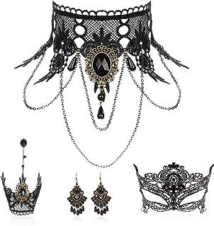 Makone Juego de collar y arete de encaje negro gótico Lolita rojo gargantilla para disfraz de Halloween y boda
