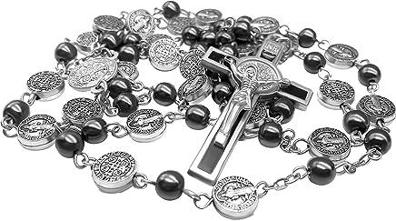891c55da262f Nazareth Store San Benito Rosario de Plata Collar Católico NR Medalla Hecha  a Mano Jerusalén
