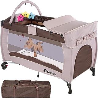 comprar comparacion TecTake Cuna infantil de viaje de altura ajustable con acolchado para bebé - disponible en diferentes colores - (Coffee | ...