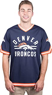 Ultra Game NFL Men's Standard Jersey V-Neck Mesh Stripe Tee Shirt
