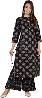 ASEAN Women's Cotton Flex Printed Kurta With Palazzo Set