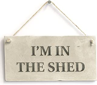 Meijiafei I'm in The Shed - Country Cottage PVC Workshop Sign/Plaque for Dad 10