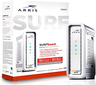 ARRIS SURFboard Docsis 3.1 Gigabit Speed Cable Modem, Approved for Cox, Spectrum and Xfinity, (SB8200 Frustration Free)