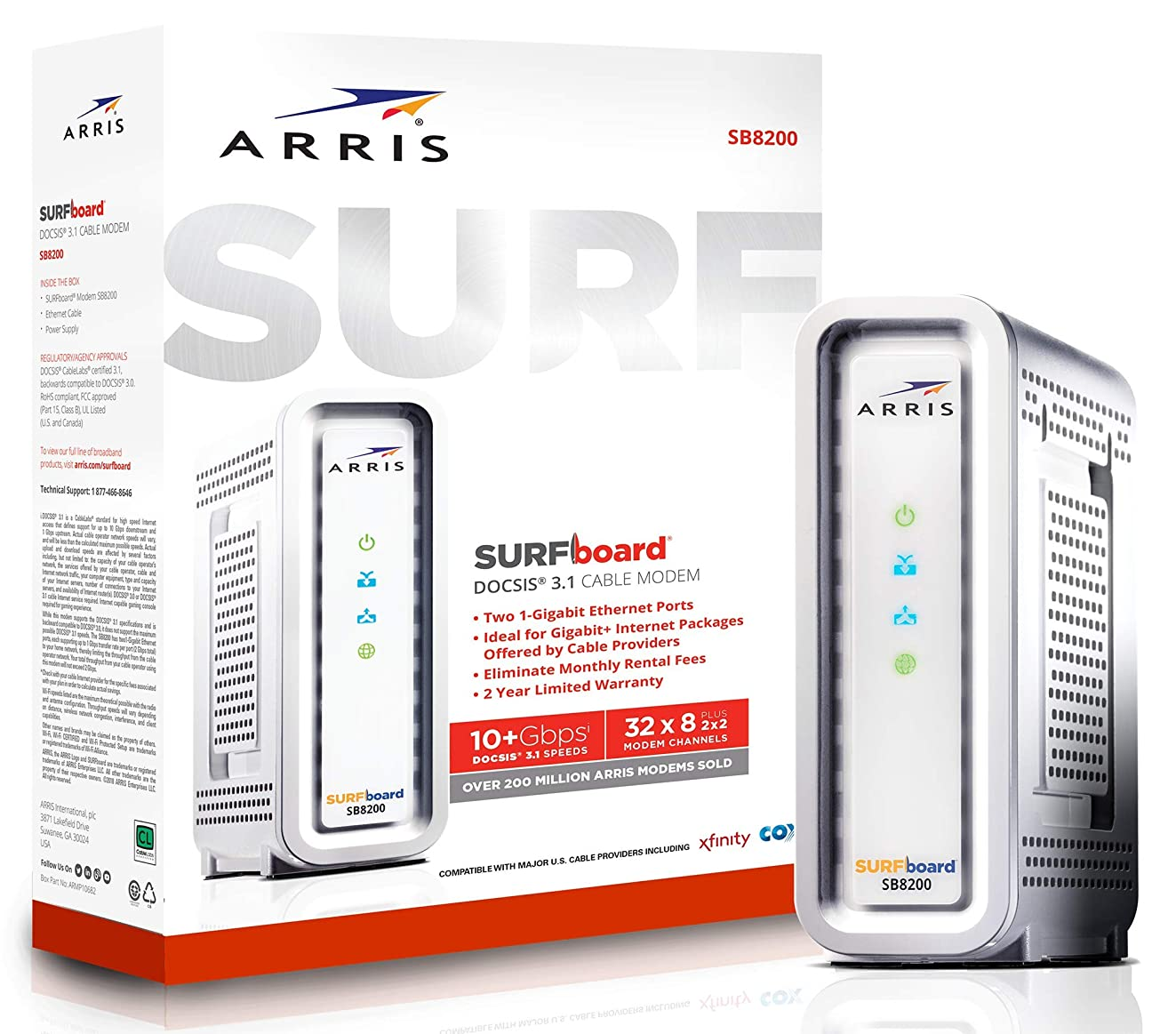 ARRIS SURFboard Gigabit DOCSIS 3.1 Cable Modem, 10 Gbps Max Speed, Approved for Comcast Xfinity, Cox and Charter. (SB8200 Frustration Free)
