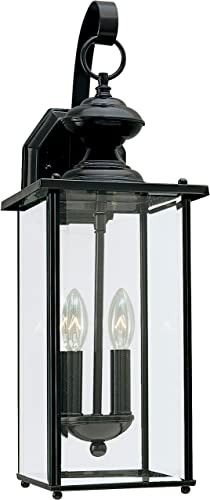 popular Sea outlet online sale Gull Lighting 8468-12 Jamestowne Transitional Two - Light Outdoor high quality Wall Lantern Outside Fixture, Black Finish online