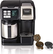 Hamilton Beach FlexBrew Thermal Coffee Maker, Single Serve & Full 10 Pot, Compatible for K-Cup Pods or Grounds, Programmable, Black and Stainless (49966)