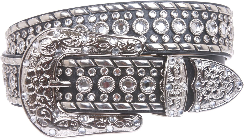 Western Rhinestone Silver Studded Leather Belt