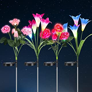 Outdoor Solar Garden Stake Lights,Solar Powered Light with 5 Rose AND 4 Lily Flower,Solar Pathway Lights for Outdoor,Decor...