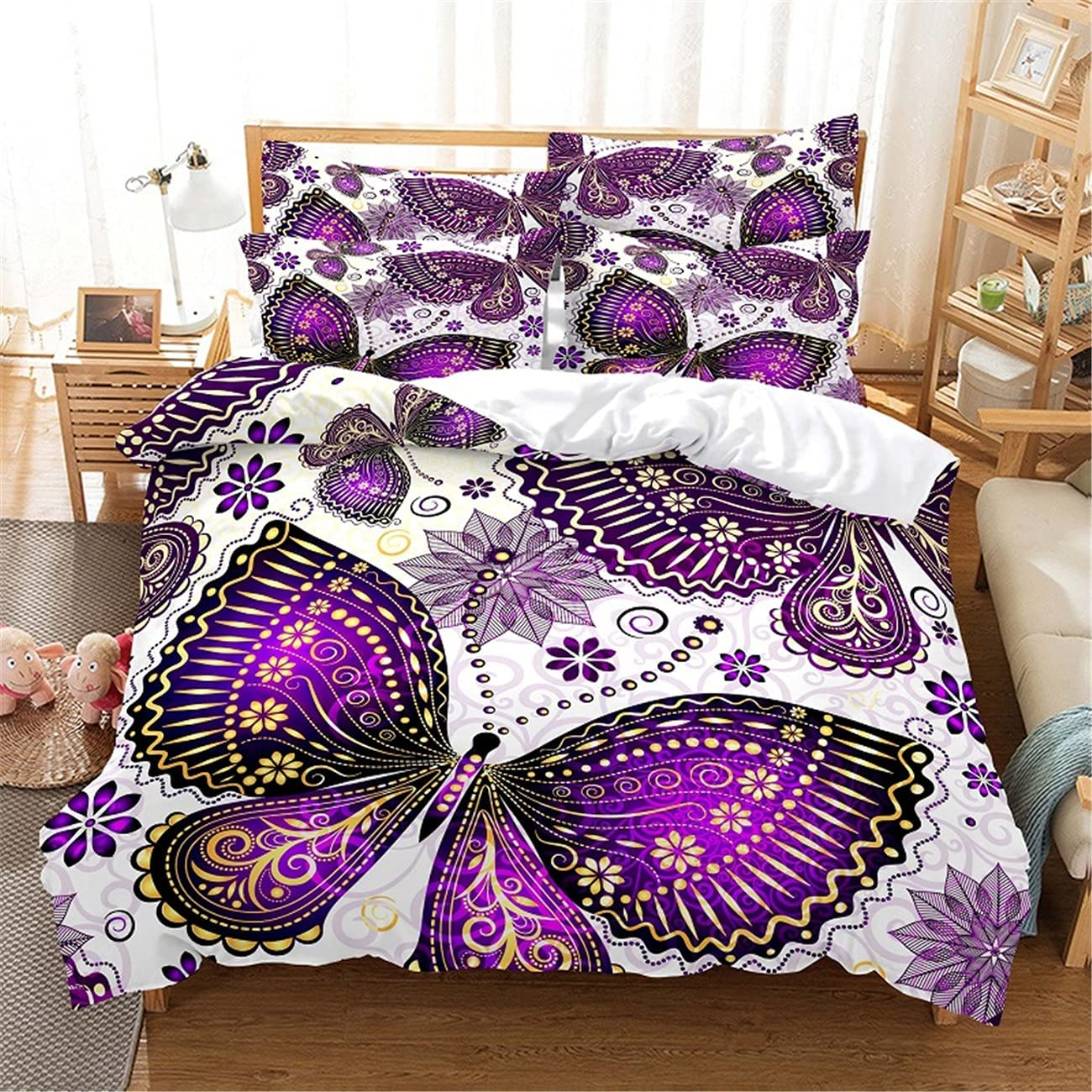 MANXI Bedding Set 3-Piece Purple Butterfly Printing Manufacturer OFFicial shop Digital Quil Excellence