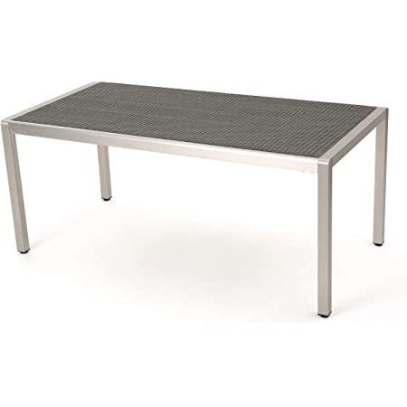 Christopher Knight Home Cape Coral Aluminum Faux Wood Dining Table by Natural Finish+Silver 6