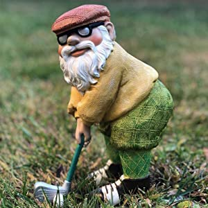 Fairy Garden Golfing Gnome, Golfer Garden Gnomes Outdoor Figurine, Hand Painted Funny Novelty Outdoor Statues Front Yards, Flowerbeds and Offices Decoration-A