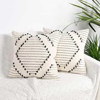 Merrycolor Boho Throw Pillow Cover Cotton Hand-Woven Farmhouse Throw Pillow Cover, Used in Sofa, Living Room and Bedroom