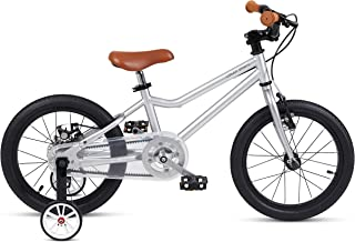 FOUJOY Kids Bike Steel Frame Children Bicycle 18 Inch with Training Wheels for 5-10 Years Old Children Belt Driven (Silver)